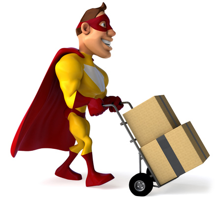 Superhero pushing trolley with boxes