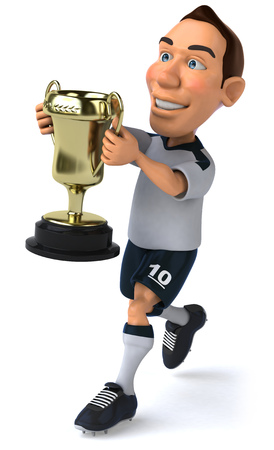 jersey: Soccer player with trophy