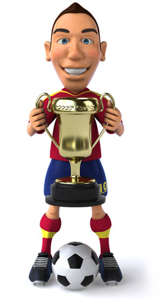 Soccer player with ball and trophy Stock Photo