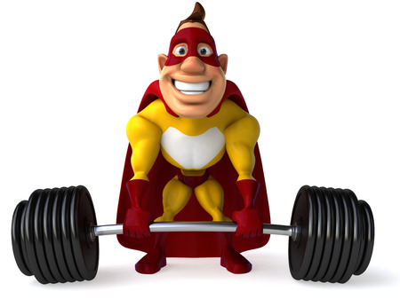Superhero lifting a barbell Stock Photo