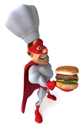 Superhero in chefs hat holding a burger