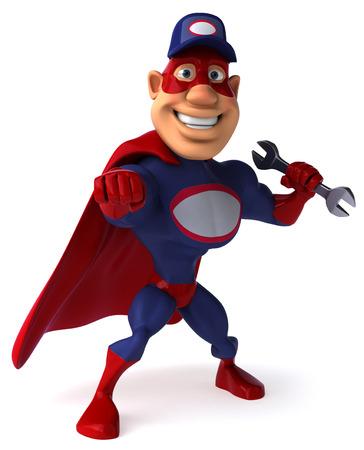 masked: Super mechanic Stock Photo