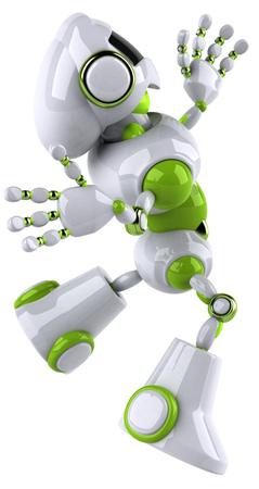 Robot jumping in midair