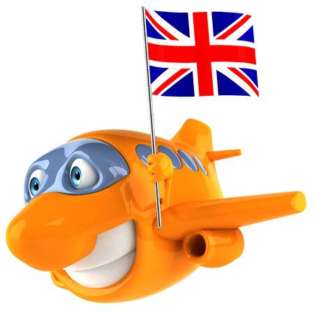 Chubby plane holding a union flag Stock Photo