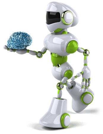 Robot holding a blue brain