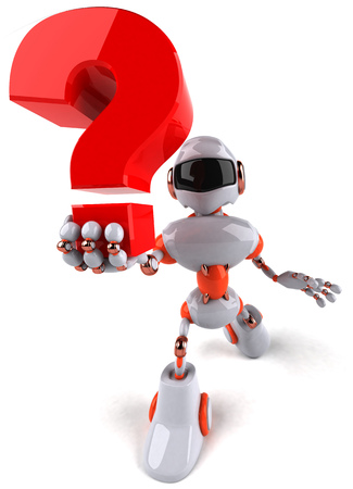 Cartoon robot with question mark