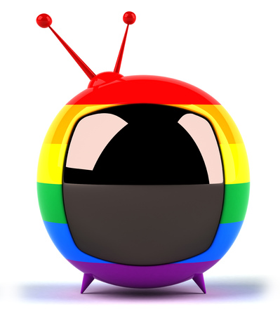 Colorful chubby television Stock Photo