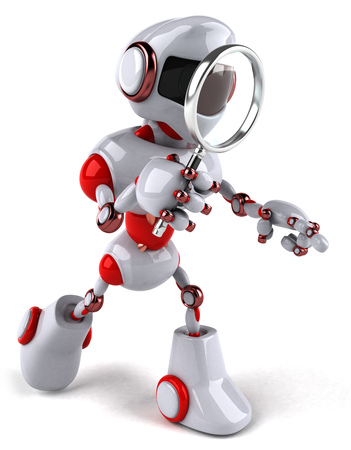 Robot searching with a magnifying glass