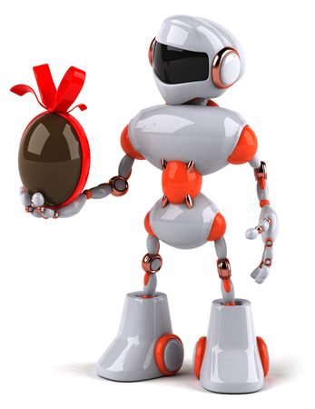 Robot holding a chocolate egg