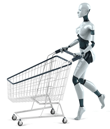 Female robot pushing a shopping cart Stock Photo