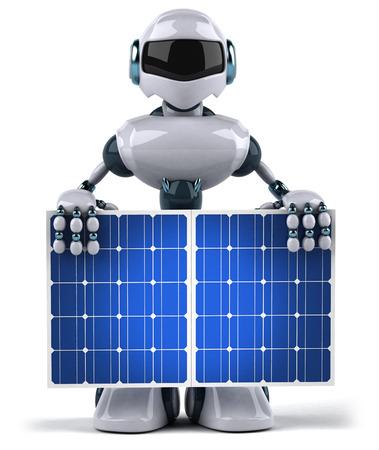 Robot holding solar panels
