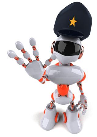 一時停止の標識を示す 3 D ロボット警察 写真素材
