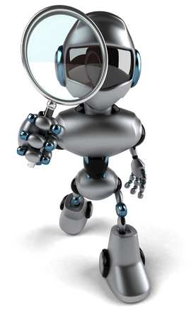 3D robot with a magnifying glass