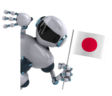 hinomaru: 3D Robot holding the Flag of Japan