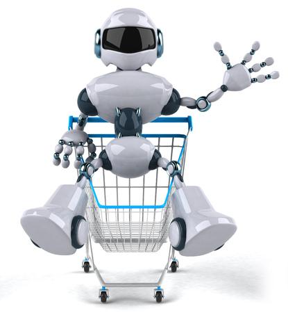 3D robot sitting on a shopping cart