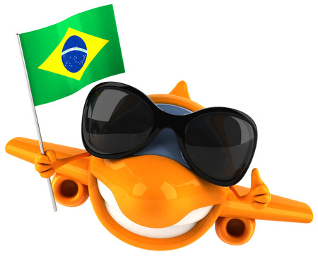 Cartoon airplane with sunglasses and Flag of Brazil Stock Photo