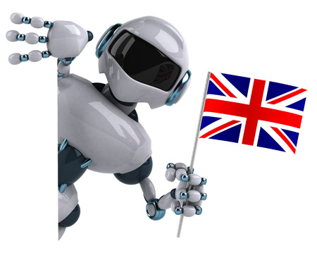 Cartoon robot with the flag of United Kingdom
