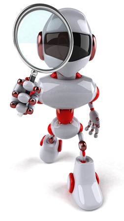 convenient: Cartoon robot with magnifying glass Stock Photo