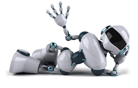 Cartoon robot lying down and waving