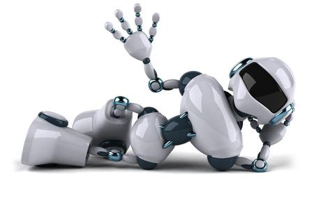 Robot del fumetto che si trova giù e che fluttua Archivio Fotografico - 80982816