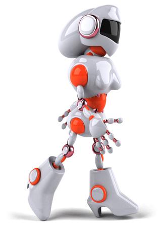 Cartoon female robot walking