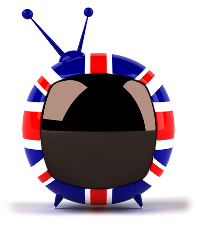Cartoon television with Union Jack stripes