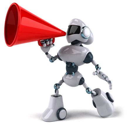 Cartoon robot with megaphone