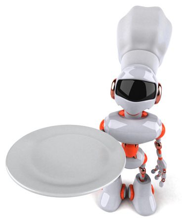 Cartoon robot with chef hat holding a plate