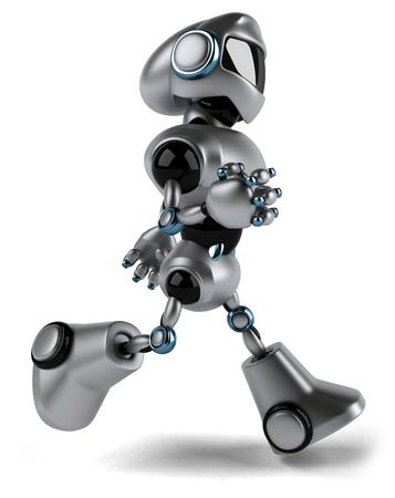 Cartoon robot is walking