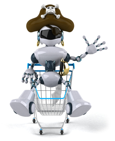 Cartoon robot with pirate hat in a shopping cart Stock Photo