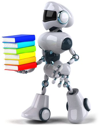 Cartoon robot holding colorful books Stock Photo