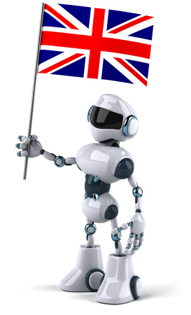 Cartoon robot holding a flag of United Kingdom Stock Photo