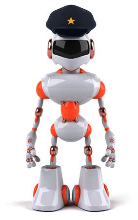 警察の帽子と漫画のロボット