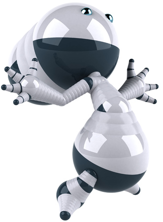 Cartoon robot is posing Stock Photo