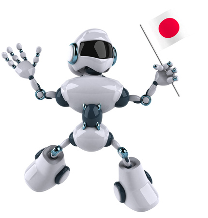 hinomaru: Cartoon robot is holding a flag of Japan