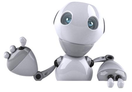 Cartoon robot is waving
