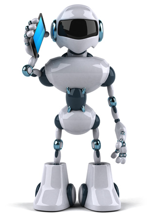 Cartoon robot with a smartphone