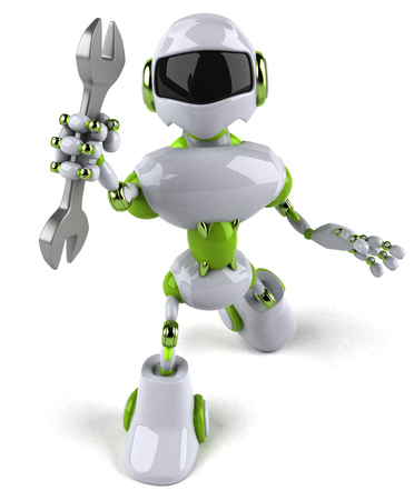 Cartoon robot with a wrench Stock Photo