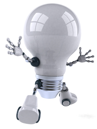 Cartoon robot light bulb