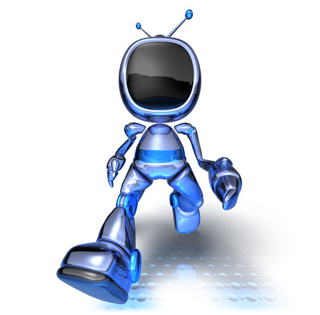 Cartoon robot television walking