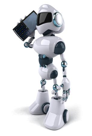 Cartoon robot talking on phone