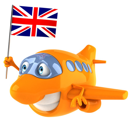 Cartoon airplane holding a flag of United Kingdom