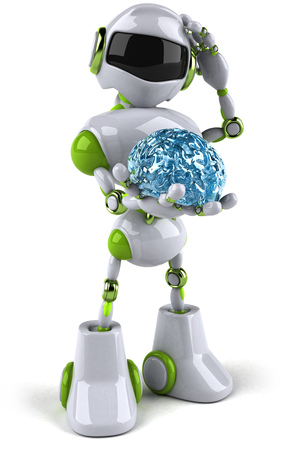 Cartoon robot with a brain Stok Fotoğraf