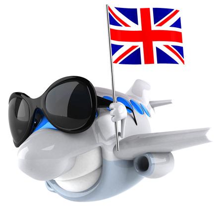 Cartoon airplane with sunglasses holding a flag of United Kingdom