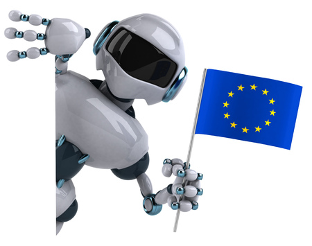 Cartoon robot with European Union flag