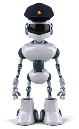 Cartoon robot with police hat Stock Photo