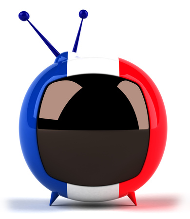 Cartoon television with flag of France