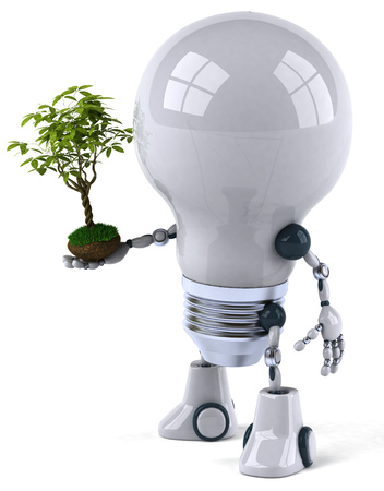 Cartoon robot light bulb with seedling plant Stock Photo