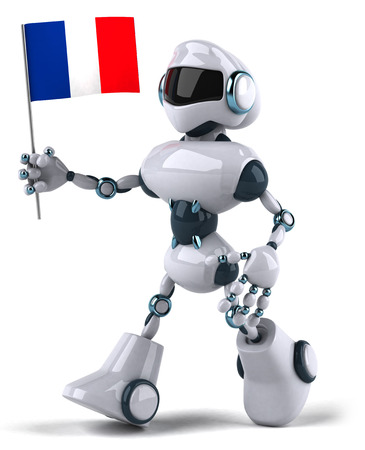 Cartoon robot holding a flag of France