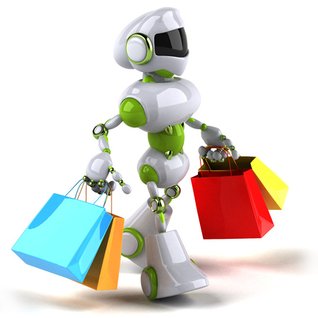 Cartoon robot with shopping bags